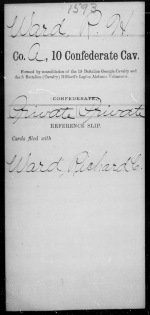 Ward, R H - Age [Blank], Year: [Blank] - Tenth Confederate Cavalry, R-Z - Raised Directly by the Confederate Government