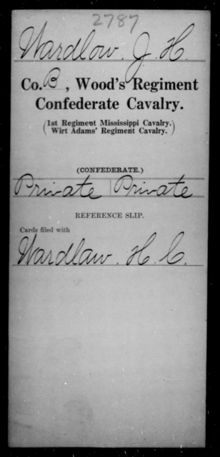 Wardlow, J H - Age [Blank], Year: [Blank] - Wood's Regiment, Confederate Cavalry, Sm-Z - Raised Directly by the Confederate Government
