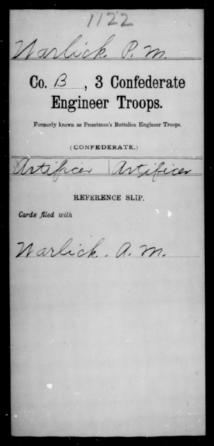Warlick, P M - Age [Blank], Year: [Blank] - Third Confederate Engineer Troops, P-Z - Raised Directly by the Confederate Government