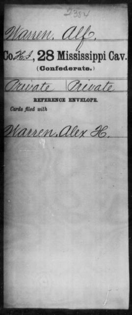 Warren, Alf - Age: [Blank], Year: [BLANK] - Mississippi Twenty-eighth Cavalry, W-Y
