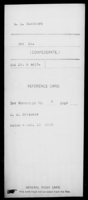 Washburn, W M - Age [Blank], Year: [Blank] - Roll Military Unit, U - Z - Louisiana