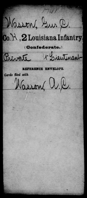 Wasson, Gus C - Age [Blank], Year: [Blank] - M, So-Wh - Louisiana