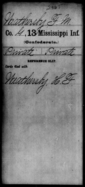 Weathersby, F M - Age: [Blank], Year: [BLANK] - Mississippi C, U-Z
