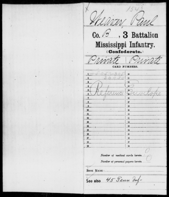 Weaver, Paul - Age: [Blank], Year: [BLANK] - Mississippi Third Battalion, Infantry, R-We