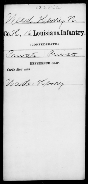 Weed, Henry N - Age [Blank], Year: [Blank] - Roll Military Unit, T - Z - Louisiana
