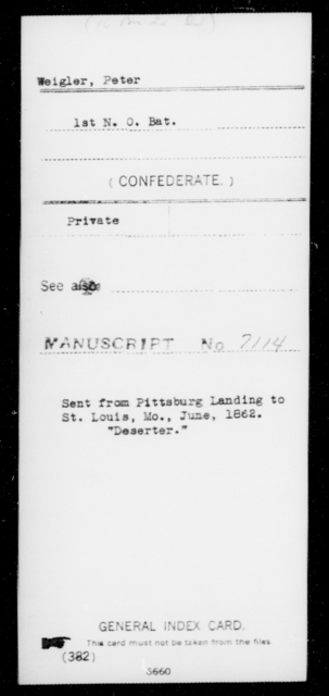 Weigler, Peter - Age [Blank], Year: 1862 - Sixteenth Battalion, Infantry, M - W - Louisiana