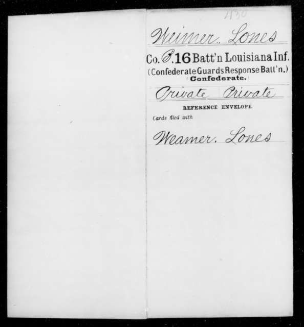 Weimer, Lones - Age [Blank], Year: 1862 - Sixteenth Battalion, Infantry, M - W - Louisiana