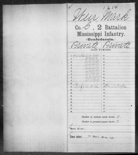 Weir, Mark - Age: [Blank], Year: [BLANK] - Mississippi Second Battalion, Infantry, R-Z AND Second (Davidson's) Infantry (Army of 10,000), A-O