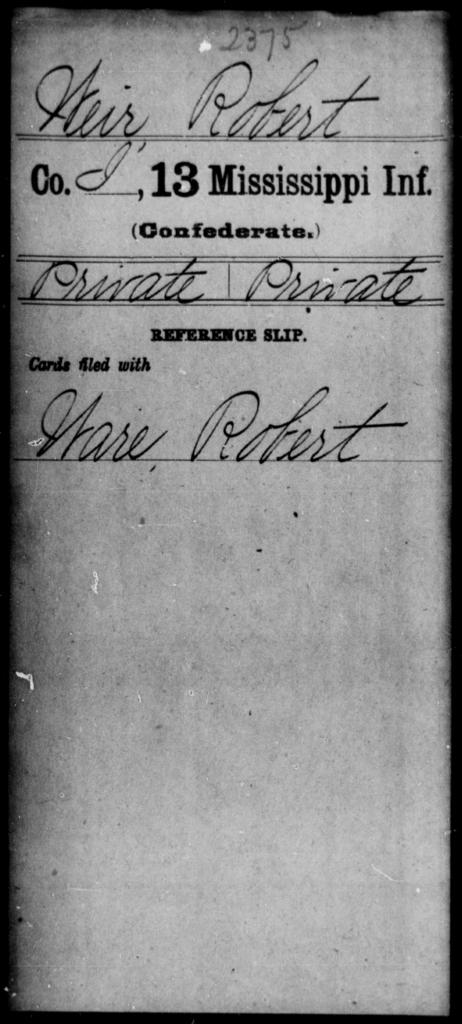 Weir, Robert - Age: [Blank], Year: [BLANK] - Mississippi C, U-Z