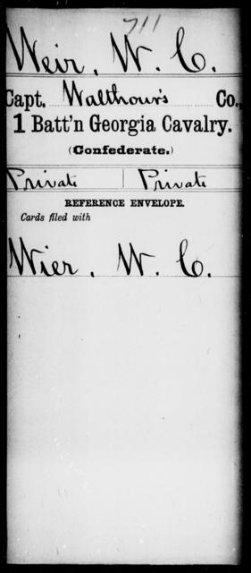 Weir, W C - 1st Battalion, Cavalry