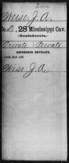 Weise, J A - Age: [Blank], Year: [BLANK] - Mississippi Twenty-eighth Cavalry, W-Y