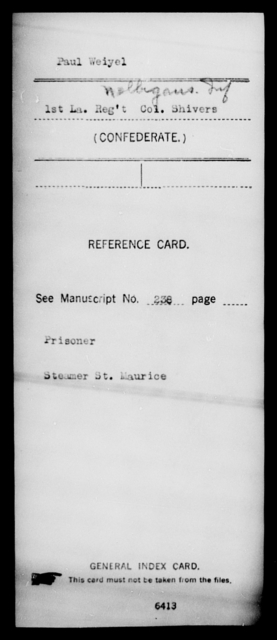 Weiyel, Paul - Age [Blank], Year: [Blank] - M, T - Z AND Roll Military Unit - Louisiana