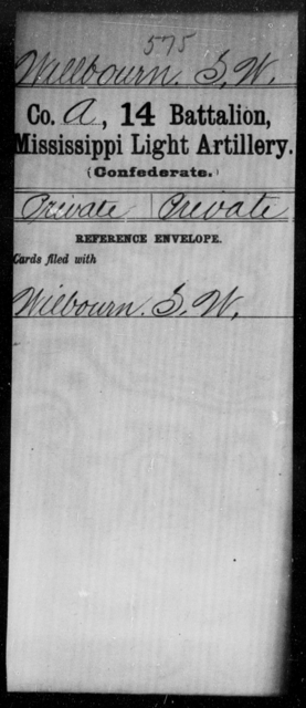 Wellbourn, S W - Age: [Blank], Year: [BLANK] - Mississippi Fourteenth Battalion, Light Artillery, R-Y AND Capt. Bradford's Co. (Confederate Guards Artillery), A-K