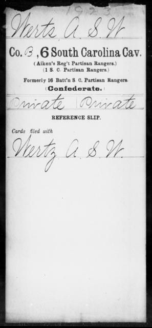 Werts, A S W - Age: [Blank], Year: [BLANK] - South Carolina Sixth Cavalry Sh-Y