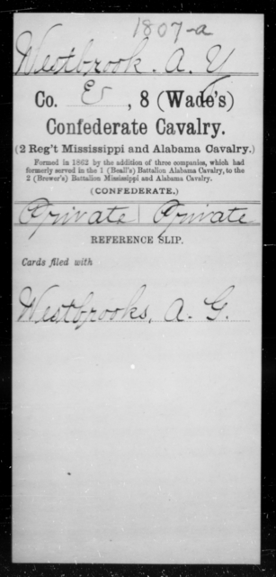 Westbrook, A Y - Age [Blank], Year: 1862 - Eighth Confederate Cavalry, S-Z - Raised Directly by the Confederate Government