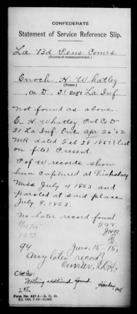 Whatley, Enoch H - Age [Blank], Year: [Blank] - Roll Military Unit, Ti- Y - Louisiana