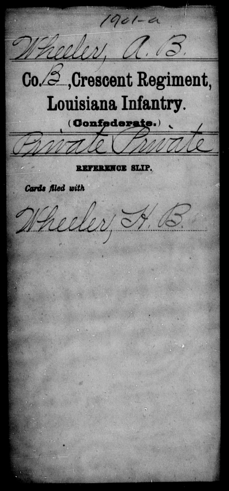 Wheeler, A B - Age [Blank], Year: [Blank] - Crescent Regiment, Infantry, T - Z - Louisiana