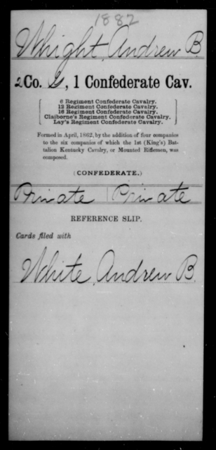 Whight, Andrew B - Age [Blank], Year: [Blank] - First Confederate Cavalry, U-Y AND First Confederate Regular Cavalry - Raised Directly by the Confederate Government