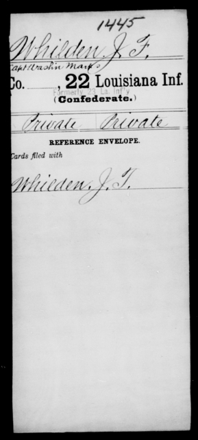 Whilden, J F - Age [Blank], Year: [Blank] - Twenty-second Infantry, Sh - Y AND Twenty-second (Consolidated) Infantry, A - B - Louisiana