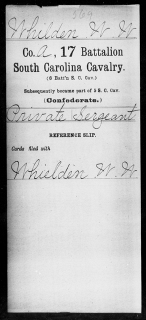 Whilden, W W - Age: [Blank], Year: [BLANK] - South Carolina Seventeenth (Sixth) Battalion, Cavalry