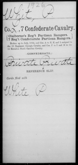 Whit, P - Age [Blank], Year: [Blank] - Seventh Confederate Cavalry, T-Z AND Seventh Battalion, Confederate Cavalry (Prentice's) - Raised Directly by the Confederate Government