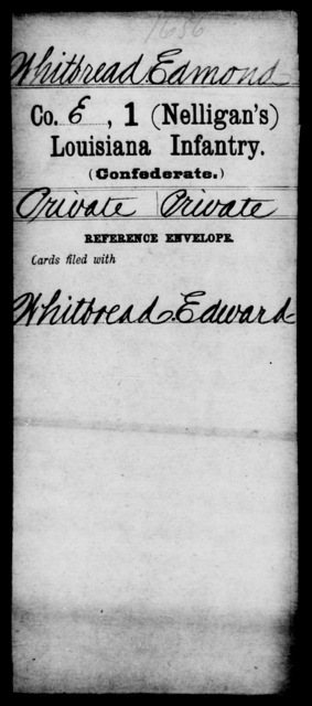 Whitbread, Edmond - Age [Blank], Year: [Blank] - M, T - Z AND Roll Military Unit - Louisiana
