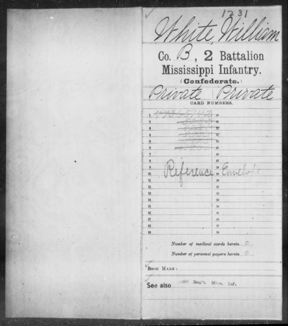 White, William - Age: [Blank], Year: [BLANK] - Mississippi Second Battalion, Infantry, R-Z AND Second (Davidson's) Infantry (Army of 10,000), A-O