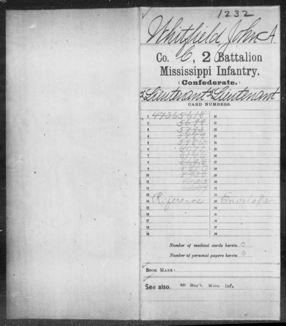 Whitfield, John A - Age: [Blank], Year: [BLANK] - Mississippi Second Battalion, Infantry, R-Z AND Second (Davidson's) Infantry (Army of 10,000), A-O