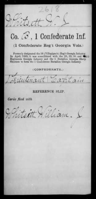 Whitsett, W J - Age [Blank], Year: [Blank] - First Confederate Infantry, T-Y - Raised Directly by the Confederate Government