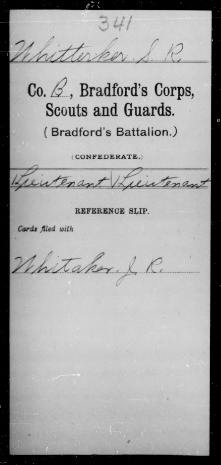 Whitterker, S R - Age [Blank], Year: [Blank] - Bailey's Consolidated Regiment of Infantry AND Bradford's Corps, Scouts and Guards - Raised Directly by the Confederate Government