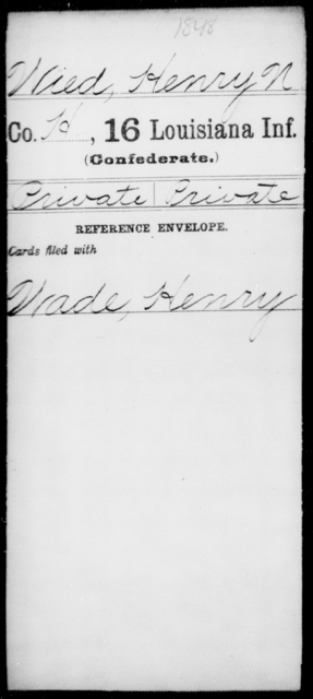Wied, Henry N - Age [Blank], Year: [Blank] - Roll Military Unit, T - Z - Louisiana