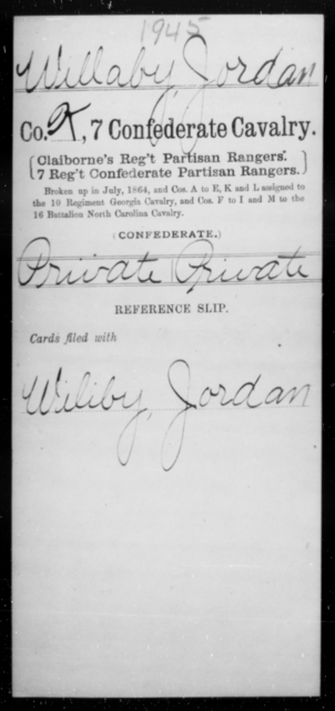 Willaby, Jordan - Age [Blank], Year: [Blank] - Seventh Confederate Cavalry, T-Z AND Seventh Battalion, Confederate Cavalry (Prentice's) - Raised Directly by the Confederate Government