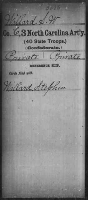Willard, S W - Third Artillery (40th State Troops)