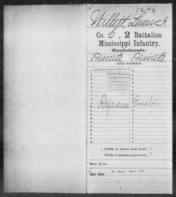 Willett, Lewis A - Age: [Blank], Year: [BLANK] - Mississippi Second Battalion, Infantry, R-Z AND Second (Davidson's) Infantry (Army of 10,000), A-O