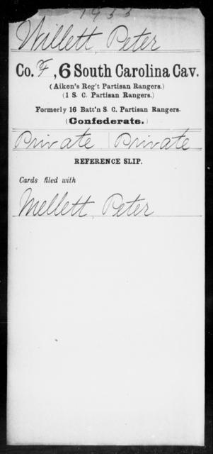 Willett, Peter - Age: [Blank], Year: [BLANK] - South Carolina Sixth Cavalry Sh-Y