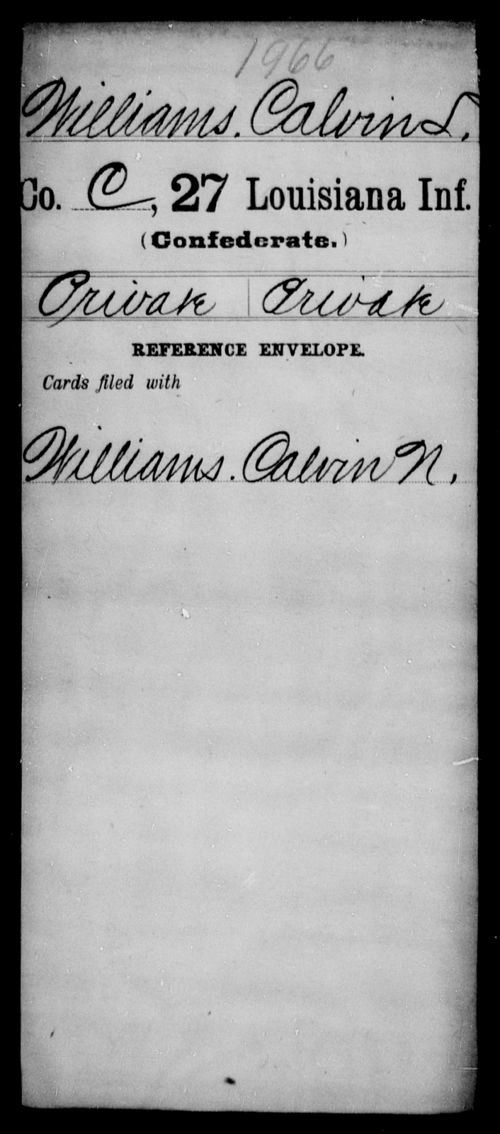 Williams, Calvin T - Age [Blank], Year: [Blank] - Twenty-seventh Infantry, Sp - Z - Louisiana