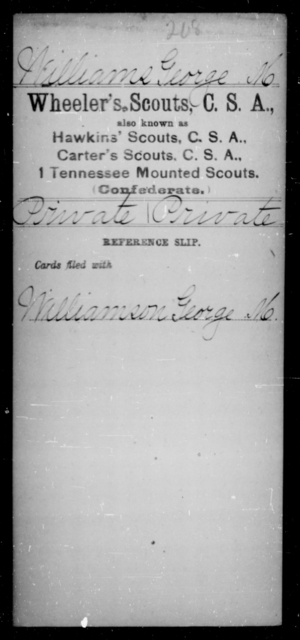 Williams, George M - Age [Blank], Year: [Blank] - Murchison's Battalion, Cavalry AND Powers' Regiment, Confederate Cavalry AND Capt. Raum's Co., Confederate Cavalry AND Wheeler's Scouts CSA - Raised Directly by the Confederate Government