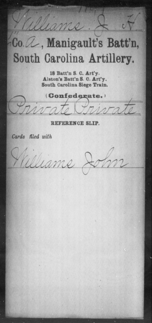 Williams, J H - Age: [Blank], Year: [BLANK] - South Carolina Manigault's Battalion, Artillery Sk-Z