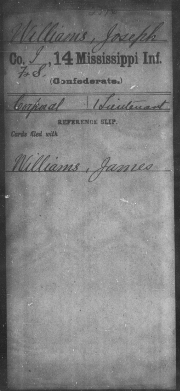 Williams, Joseph - Age: [Blank], Year: [BLANK] - Mississippi Fourteenth Infantry, Wi-Z AND Fourteenth (Consolidated) Infantry