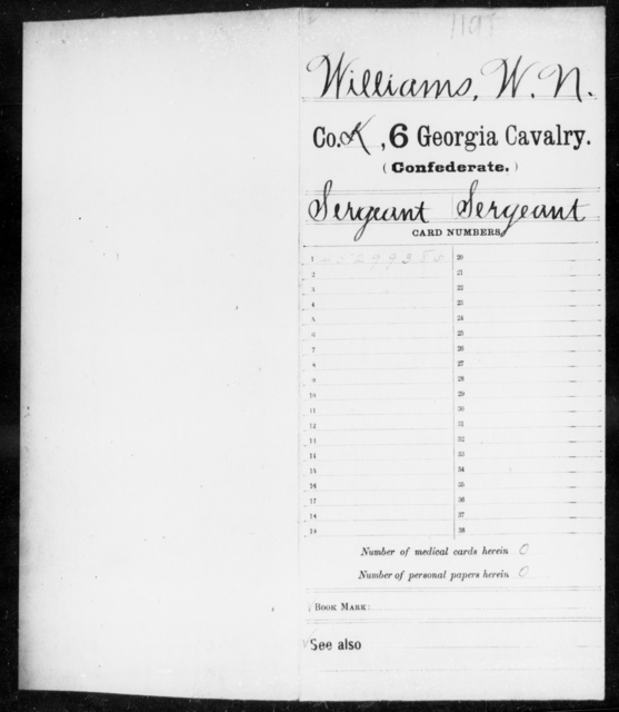 Williams, W N - 6th Cavalry AND 6th Battalion, Cavalry (State Guards)