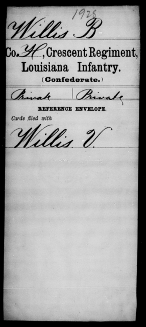 Willis, B - Age [Blank], Year: [Blank] - Crescent Regiment, Infantry, T - Z - Louisiana