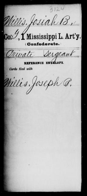 Willis, Josiah B - Age: [Blank], Year: [BLANK] - Mississippi First Light Artillery, Ty-Y