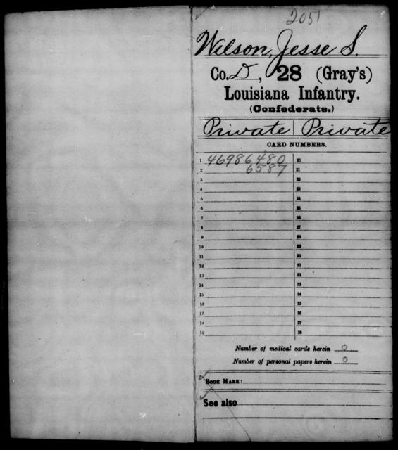 Wilson, Jesse S - Age [Blank], Year: 1862 - Twenty-eighth (Gray's) Infantry, W - Z AND Twenty-eighth (Thomas') Infantry, A - B - Louisiana