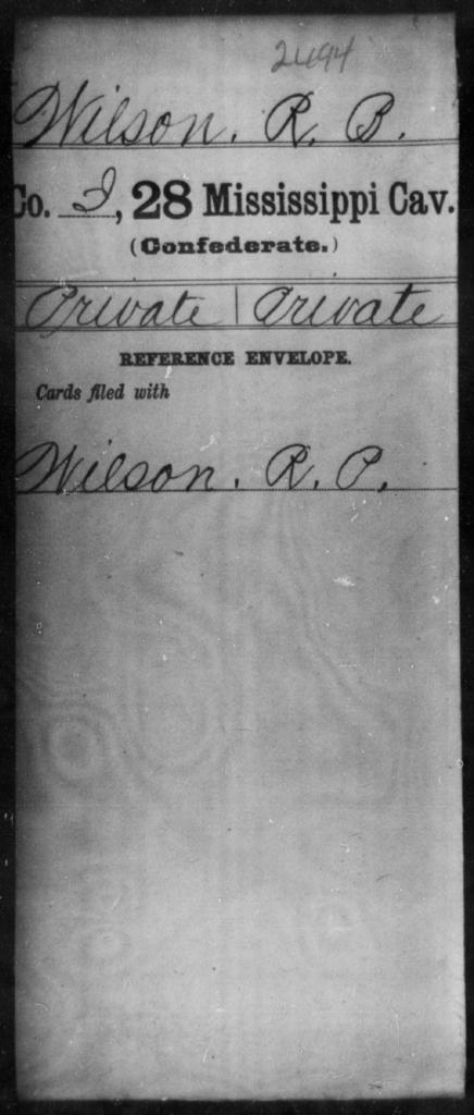 Wilson, R B - Age: [Blank], Year: [BLANK] - Mississippi Twenty-eighth Cavalry, W-Y