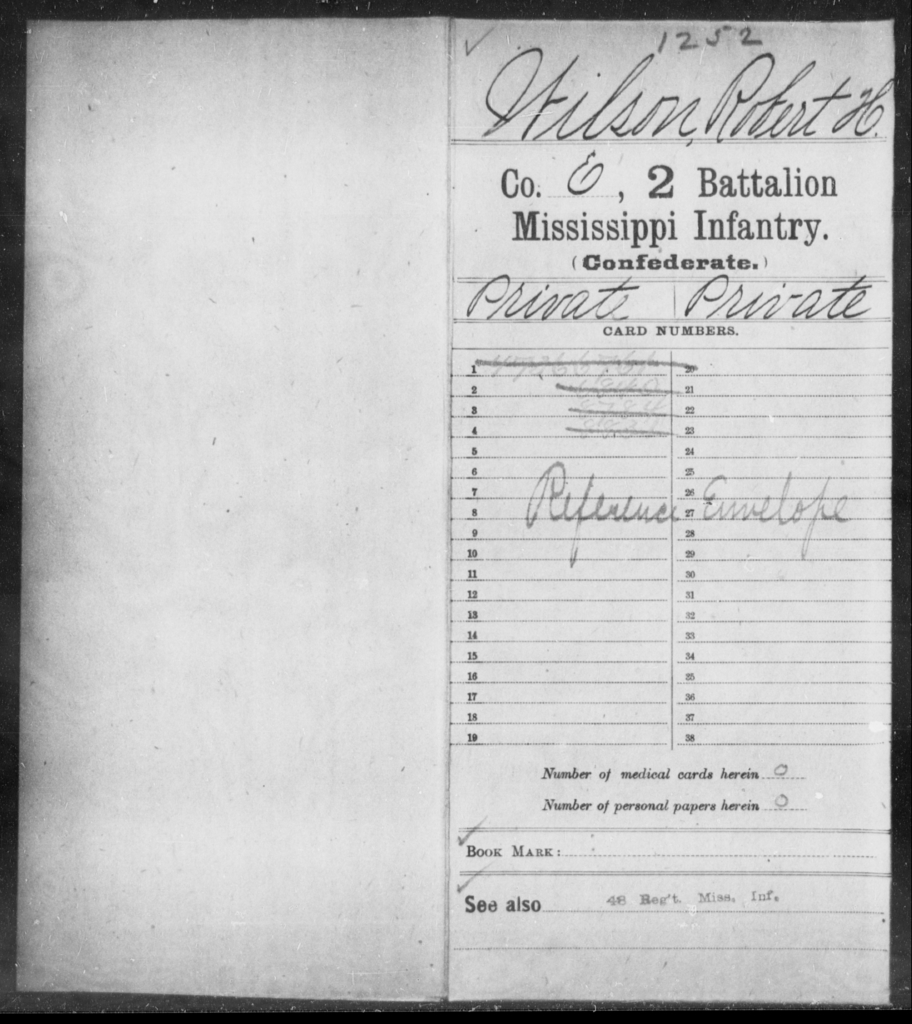 Wilson, Robert H - Age: [Blank], Year: [BLANK] - Mississippi Second Battalion, Infantry, R-Z AND Second (Davidson's) Infantry (Army of 10,000), A-O