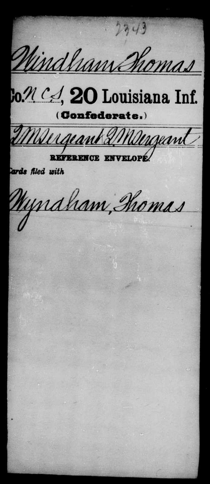 Windham, Thomas - Age [Blank], Year: [Blank] - Twentieth Infantry, Th - Z - Louisiana