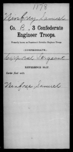 Winfrey, Samuel - Age [Blank], Year: [Blank] - Third Confederate Engineer Troops, P-Z - Raised Directly by the Confederate Government