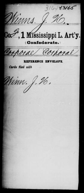 Winns, J H - Age: [Blank], Year: [BLANK] - Mississippi First Light Artillery, Ty-Y
