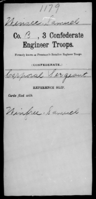 Winsee, Samuel - Age [Blank], Year: [Blank] - Third Confederate Engineer Troops, P-Z - Raised Directly by the Confederate Government