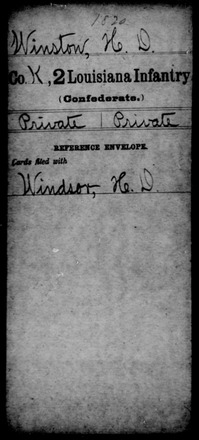 Winston, H D - Age [Blank], Year: [Blank] - M, Wi- Z AND Second Regiment, Second Brigade, First Division, AND Militia - Louisiana